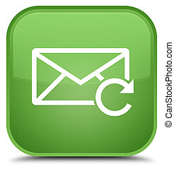 Refresh email icon special soft green square button