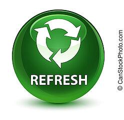 Refresh glassy soft green round button