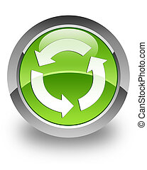 refresh icon on glossy green round button