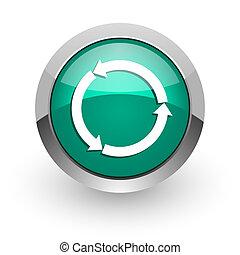 refresh green glossy web icon