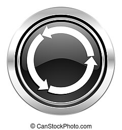refresh icon, black chrome button, reload icon, black chrome button
