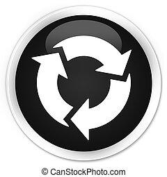 Refresh icon black glossy round button