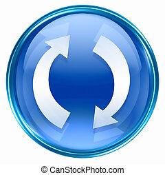refresh icon blue, isolated on white background.