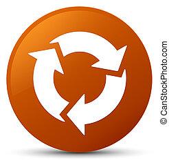 Refresh icon brown round button