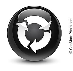 Refresh icon glassy black round button