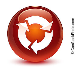 Refresh icon glassy brown round button