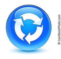 Refresh icon glassy cyan blue round button
