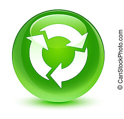 Refresh icon glassy green round button