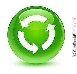 Refresh icon glassy green round button