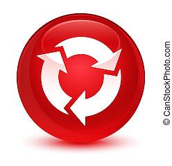 Refresh icon glassy red round button