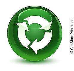 Refresh icon glassy soft green round button