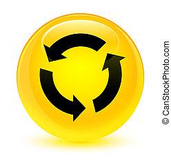 Refresh icon glassy yellow round button
