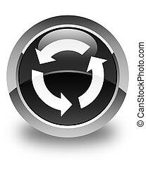 Refresh icon glossy black round button