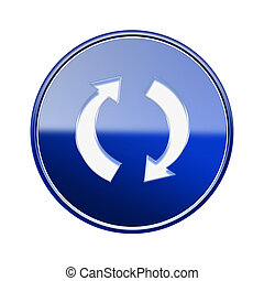 refresh icon glossy blue, isolated on white background.