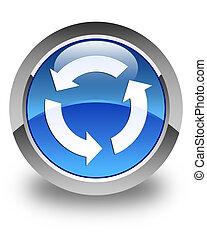 Refresh icon glossy blue round button