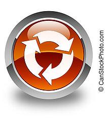 Refresh icon glossy brown round button 2