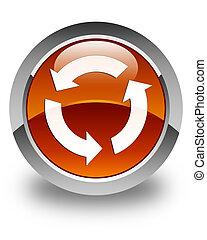 Refresh icon glossy brown round button