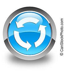 Refresh icon glossy cyan blue round button