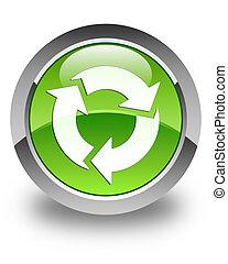 Refresh icon glossy green round button 2