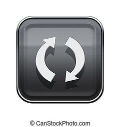 refresh icon glossy grey, isolated on white background