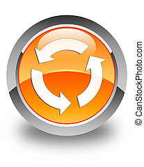 Refresh icon glossy orange round button
