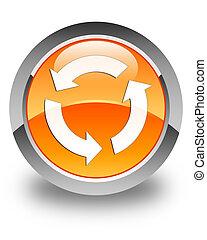 Refresh icon glossy orange round button