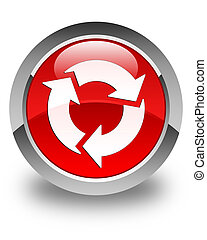 Refresh icon glossy red round button