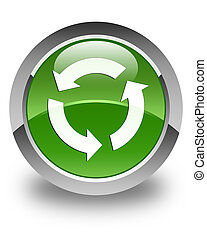 Refresh icon glossy soft green round button