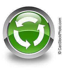 Refresh icon glossy soft green round button