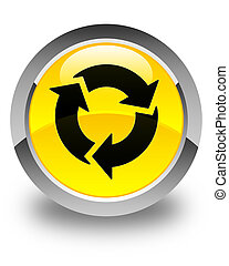 Refresh icon glossy yellow round button