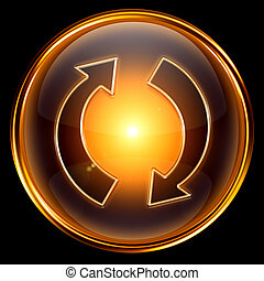 refresh icon golden. - refresh icon golden, isolated on...