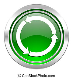 refresh icon, green button, reload icon, green button