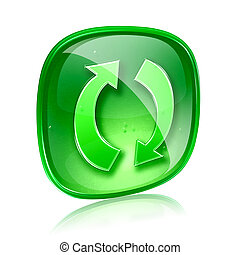 refresh icon green glass, isolated on white background.