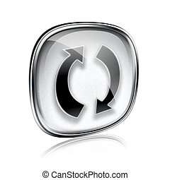 refresh icon grey glass, isolated on white background.