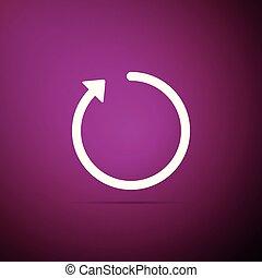 Refresh icon isolated on purple background. Flat design. Vector Illustration