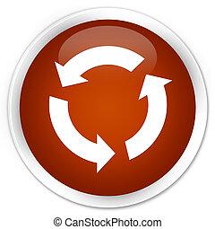 Refresh icon premium brown round button