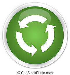 Refresh icon premium soft green round button
