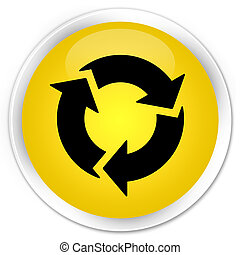 Refresh icon premium yellow round button