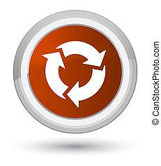 Refresh icon prime brown round button