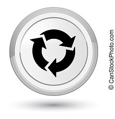 Refresh icon prime white round button