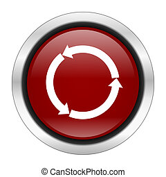 refresh icon, red round button isolated on white background, web design illustration