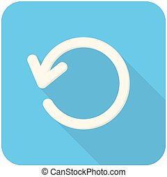 Refresh, modern flat icon with long shadow