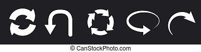 Refresh icon set isolated on black. Vector illustration EPS10