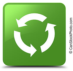 Refresh icon soft green square button