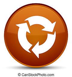 Refresh icon special brown round button