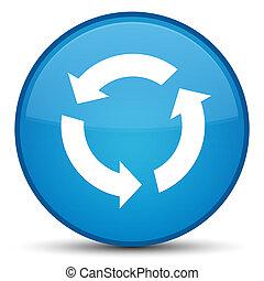 Refresh icon special cyan blue round button