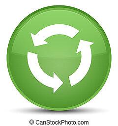 Refresh icon special soft green round button
