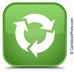 Refresh icon special soft green square button