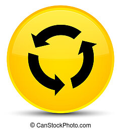 Refresh icon special yellow round button