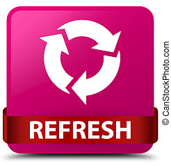 Refresh pink square button red ribbon in middle